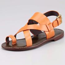 Pour La Victoire Orange Leather 'Jamary' Toe Ring Flat Sandals 8 Nib Shoes Photo