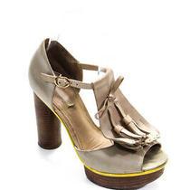 Pour La Victoire Women Platform Block Heel Ankle Strap Sandals Beige Leather 6.5 Photo