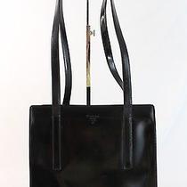 Prada Authentic Black Lacquered Leather Shoulder Bag Double Strap Logo Photo