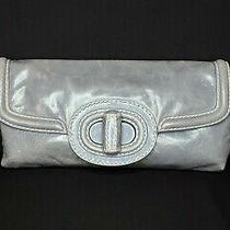 Prada Avio Blue Vitello Shine Distressed Leather Pochette Clutch 995 Photo