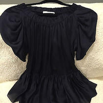 Prada Baby Doll Black Silk Blouse Size 36 Photo