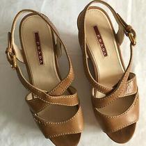 Prada Beige Leather High Wedge Pamps Size 361/2  Photo