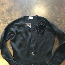Prada Black  3-4 Ply Cashmere Beaded Detail Cardigan 42 M Photo