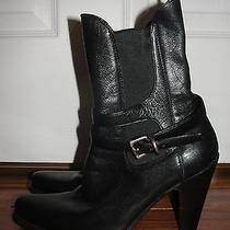 Prada Black Ankle Boots Silver Buckle Sz 36 6 Euc 4 Inch Heels Made in Italy Photo