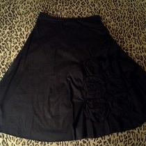 Prada Black Asymmetrical Floral Application Cotton a-Line Skirt M 4 6 8 Photo