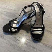 Prada Black Bow Smoked Lucite Heeled Strappy Sandal Size 5.5 Photo