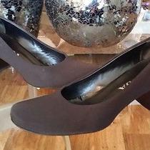 Prada Black Classic Pumps Square Toe Mid Heel Stacked Black  Sz 8 M Photo