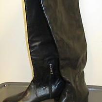 Prada Black Leather Knee High Boots W Zipper Replaced Heel Size Italy 39.5 B1598 Photo