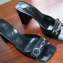Prada Black Leather Sandals Size 6 1/2m (37)  Photo