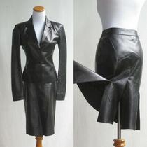 Prada Black Leather Suit Outstanding Pleated Skirt Chic Fit Jacket Blazer 38/4 Photo
