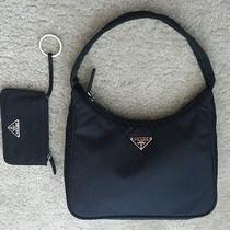 Prada Black Microfiber Small Hobo With Matching Wallet Photo
