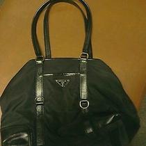 Prada Black Nylon & Leather Trim Ruched Buckle Detail Hinged Handbag Photo