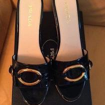 Prada Black Patent Leather Cork Platform Sandals New Size 40.5 Photo