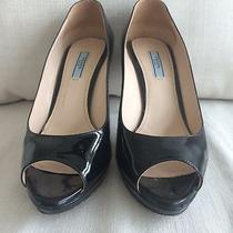 Prada Black Patent Leather Women Pump Heel Shoes 38.5 8 Photo