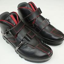 Prada Black Red Buckle Fashion High Tops Ankle Boots Sneakers 39.5 9.5 Us Italy Photo
