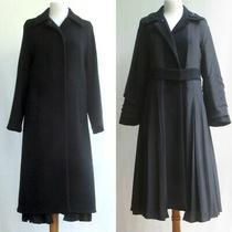 Prada Black Reversible Long Coat Pleated Silk Skirt Wool New Tags Nwt 2390 38/4 Photo