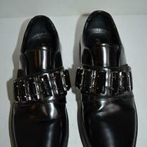 Prada Black Saffiano Leather Oxfords Flats W/black Crystals/shoes 37.5/7 Photo