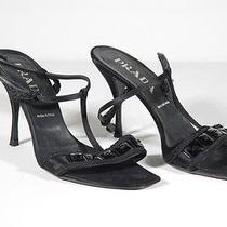 Prada Black Satin Sandals Shoes Heels Jeweled Pumps Sz 39 Tv Photo