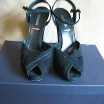 Prada Black Suede Evening Sandals Ankle Strap Size 39b  Photo