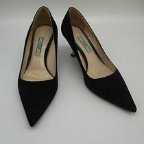 Prada Black Suede Heels Sz 38 Photo