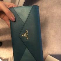 Prada Blue Saffiano Letter Wallet Photo