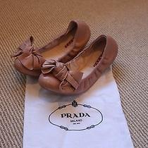 Prada Blush Bow Ballet Flats Size 38.5 Photo