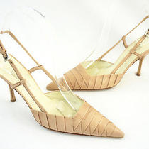 Prada Blush Pink Textured Leather Slingback Heel Shoe Size 36 6 Photo