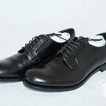 Prada Bright Black Calf Skin Leather Mens' Shoes Size 42 Eu / 9 Us Photo