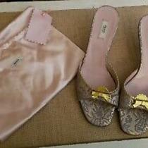 Prada Brocade Gold Blue Kitten Heels Slides Mules 36/6 - 595 W Dust Bag  Photo