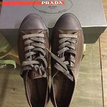 Prada Brown Cap Toe Flat Sneakers Shoes Photo