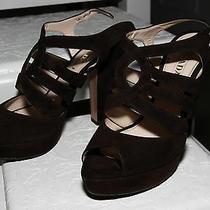 Prada Brown Leather High Heels Sandals Size 38.5 Us 8.5 Photo