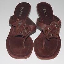 Prada Brown Leather Screw Heart Embellished Flip Flop Sandals Size 38  Photo