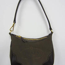 Prada Brown Logo Jacquard & Leather Shoulder Bag With Gold Hardware - Like New Photo