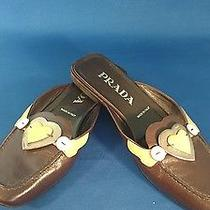 Prada Brown Pink Leather Heart Detail Slip on Flats Sz 37 Photo