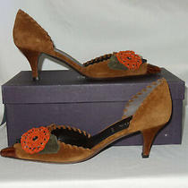 Prada Brown Suede Flower d'orsay Heels - Size 38 - New Shoes Pumps Flower Italy Photo
