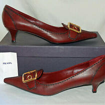 Prada Burgundy Buckle Heels - Size 38 - Antique Calf Cerise Italy Box Shoe Pumps Photo