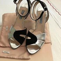 Prada Calzature Donna Black Silver Sandal  Heels 38  Photo