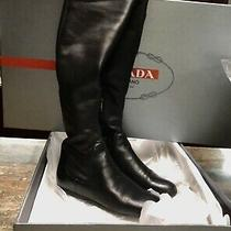 Prada Calzature Donna Nappa Stretch Over the Knee Boots Black  Size 38.5 Photo