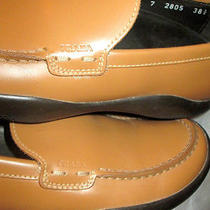Prada Camel Leather Driving Shoes Loafers Flats Red Prada Stripe at Heel 38 1/2  Photo