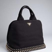 Prada Canvas Jeweled Tote Shopper Handbag Photo