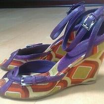 Prada Cinghiale Graph Purple Orange Gold Sandal Wedges sz.8 Photo