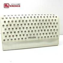 Prada Clutch Studs Wallet Bag Long There Is Coin Purse Leather White Women 'S Photo