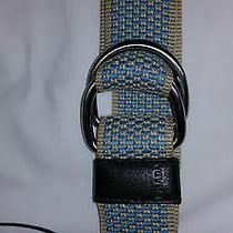 Prada Cotton Belt Turquoise Blue Beige Cotton 34 85 Photo