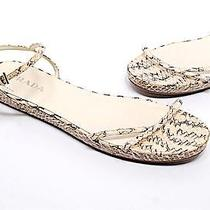 Prada Cream/black Snakeskin Strappy Flat Sandals W/platform-Pretty-Sz 38/us 8 Photo