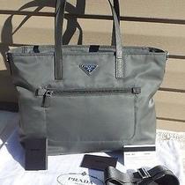 Prada Dark Gray Vela Nylon Zip Front Shopper Tote Bag Ardesia Br4842 Sold Out  Photo