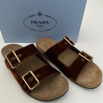 Prada Double Strap Velvet Sandals Eu 40.5 Retail 650 Nib Photo