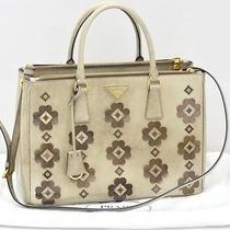 Prada Floral Applique Spazzolato Brown Beige Double Zip Lux Medium Tote Bag Photo