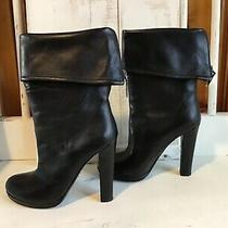 Prada Fold-Over Cuff Ankle Boots Black  Sz 39.5 Excellent  Photo