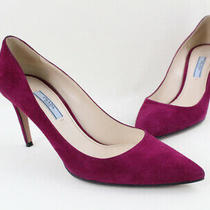 Prada Fuchsia Suede Heel Pump Shoe Size 38.5 8.5 Photo