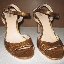 Prada Gold Croc Open Toe Shoes 37.5 Photo